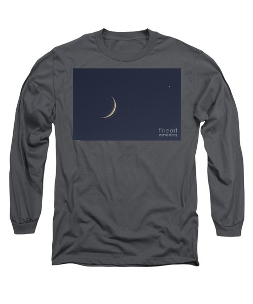 Long Sleeve T-Shirt featuring the photograph Crescent Moon And Venus by Mitch Shindelbower