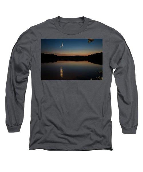 Crescent Moon Set At Lake Chesdin Long Sleeve T-Shirt