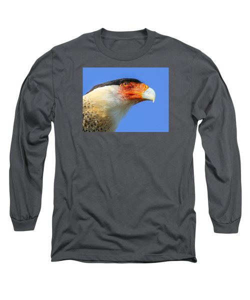 Crested Caracara Face Long Sleeve T-Shirt