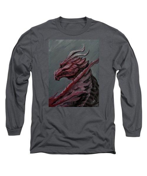 Long Sleeve T-Shirt featuring the painting Crimson Dragon by Jennifer Hotai