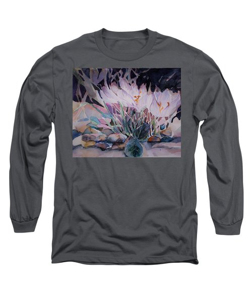 Long Sleeve T-Shirt featuring the painting Crocuses by Mindy Newman