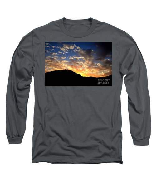 Cross On A Hill Long Sleeve T-Shirt by Sharon Soberon