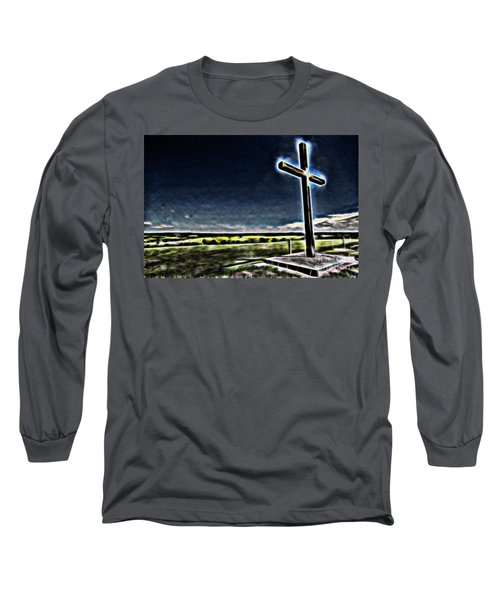 Cross On The Hill Long Sleeve T-Shirt by Douglas Barnard