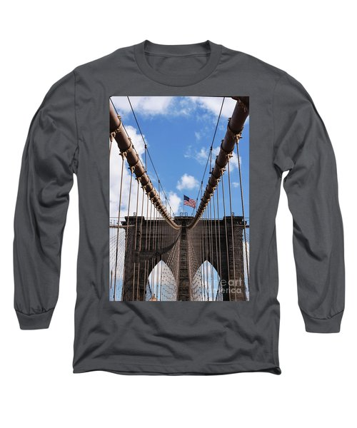 Crossing The Brooklyn Bridge Long Sleeve T-Shirt by Judy Wolinsky