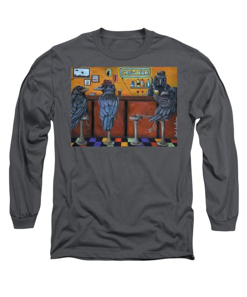 Long Sleeve T-Shirt featuring the painting Crow Bar by Leah Saulnier The Painting Maniac