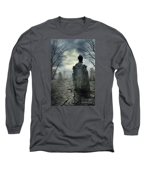 Crow On The Tombstone Long Sleeve T-Shirt