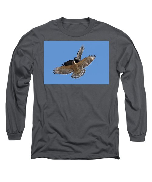 Long Sleeve T-Shirt featuring the photograph Crow Vs Hawk by Mircea Costina Photography