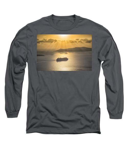 Long Sleeve T-Shirt featuring the tapestry - textile Cruise Ship In Greece by Kathy Adams Clark