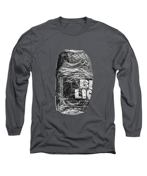 Crushed Blue Beer Can On Plywood 78 In Bw Long Sleeve T-Shirt