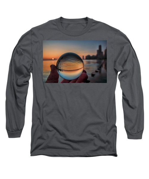 Crystal Ball On Chicago's Lakefront At Sunrise Long Sleeve T-Shirt