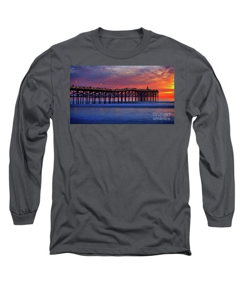 Crystal Pier In Pacific Beach Decorated With Christmas Lights Long Sleeve T-Shirt