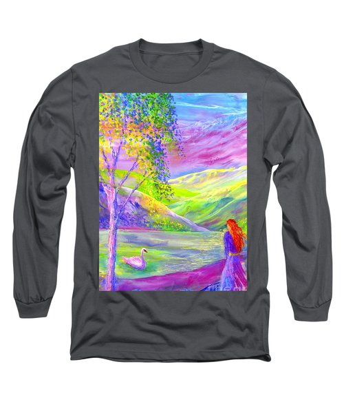 Long Sleeve T-Shirt featuring the painting Crystal Pond, Silver Birch Tree And Swan by Jane Small