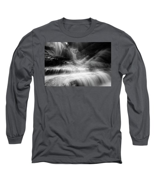 Cummins Falls In Black And White Long Sleeve T-Shirt
