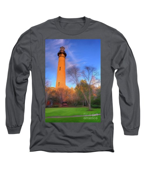 Long Sleeve T-Shirt featuring the painting Currituck Lighthouse In Winter Outer Banks Ap by Dan Carmichael