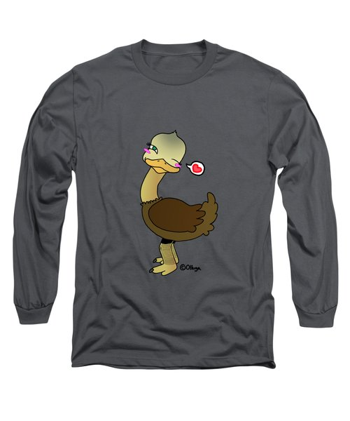 Cute Ostrich Long Sleeve T-Shirt by Olluga Gifts