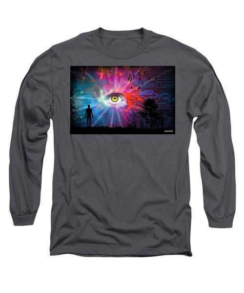 Cyber Sky Long Sleeve T-Shirt by Paulo Zerbato