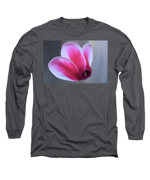 Long Sleeve T-Shirt featuring the photograph Cyclamen Portrait. by Terence Davis