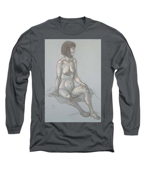 Cynthia Seated From Side Long Sleeve T-Shirt by Donelli  DiMaria