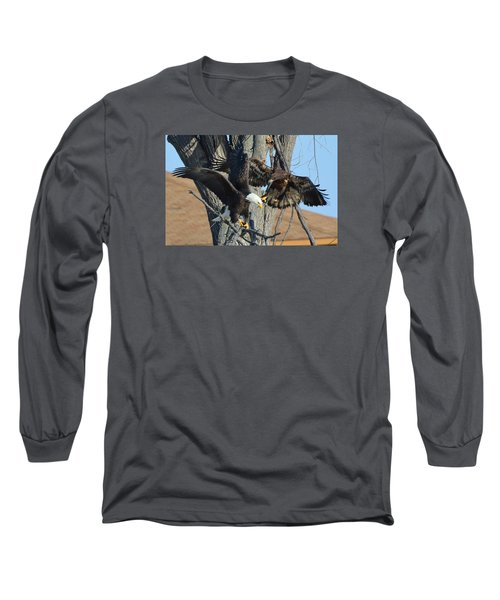 Dad And Junior With Fish Long Sleeve T-Shirt by Coby Cooper