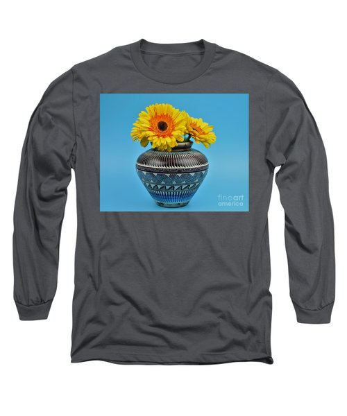 Daisies Displayed In Navajo Native American Vase Long Sleeve T-Shirt by Ray Shrewsberry