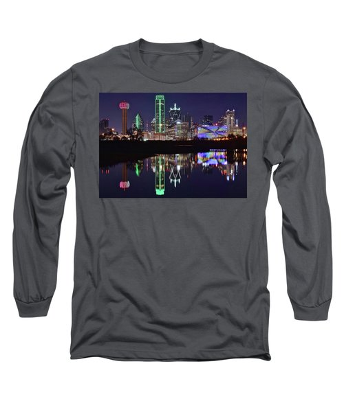 Dallas Reflecting At Night Long Sleeve T-Shirt by Frozen in Time Fine Art Photography