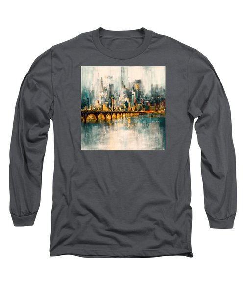 Dallas Skyline 217 3 Long Sleeve T-Shirt by Mawra Tahreem