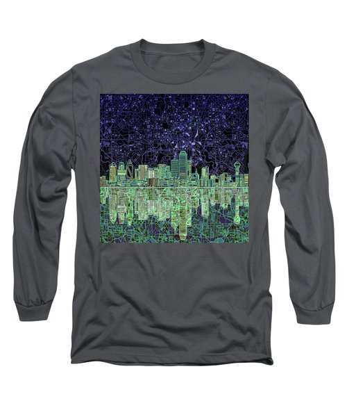 Dallas Skyline Abstract 4 Long Sleeve T-Shirt