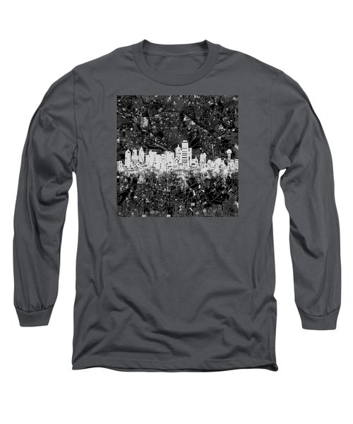 Dallas Skyline Map Black And White 5 Long Sleeve T-Shirt