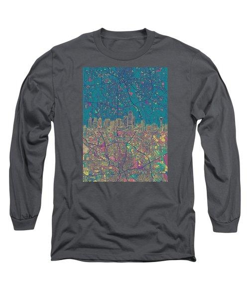 Dallas Skyline Map Green Long Sleeve T-Shirt