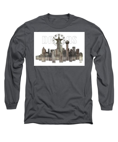 Dallas Texas Skyline Long Sleeve T-Shirt by Doug Kreuger