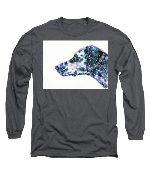 Long Sleeve T-Shirt featuring the painting Dalmatian by Zaira Dzhaubaeva