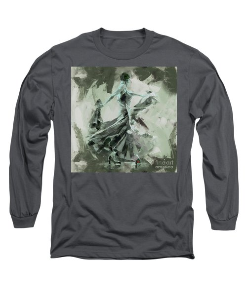 Long Sleeve T-Shirt featuring the painting Dance Flamenco Art  by Gull G