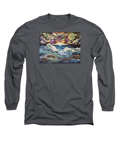 Long Sleeve T-Shirt featuring the painting Dancing Skies 3 by Cheryl Pettigrew