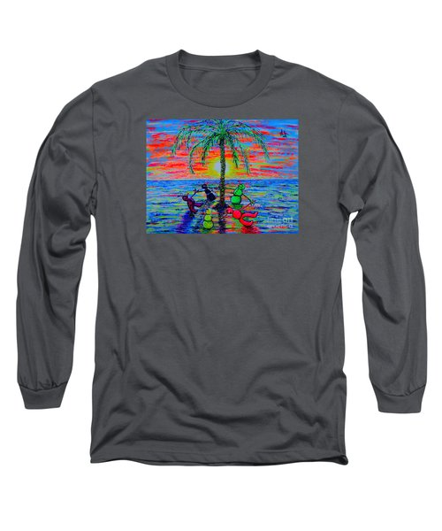 Long Sleeve T-Shirt featuring the painting Dancing Snowman by Viktor Lazarev