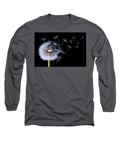 Dandelion Blowing On Black Background Long Sleeve T-Shirt