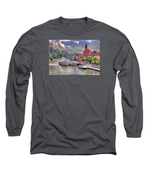 Long Sleeve T-Shirt featuring the photograph Danube At Passau by Dennis Cox WorldViews