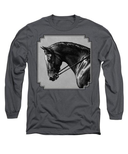 Dark Brown Dressage Horse Black And White Long Sleeve T-Shirt