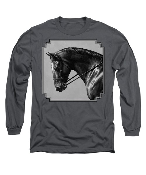 Dark Brown Dressage Horse Black And White Long Sleeve T-Shirt