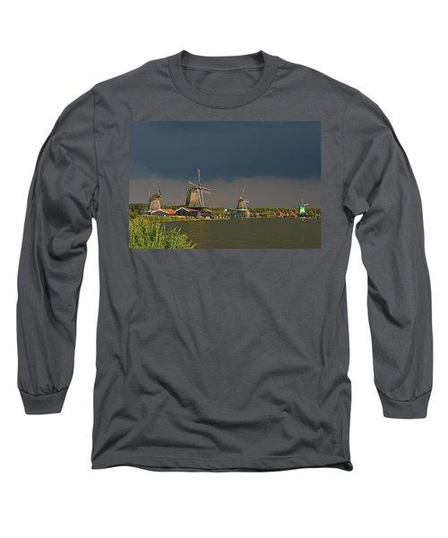 Dark Clouds Above Zaanse Schans Long Sleeve T-Shirt