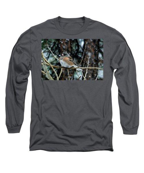 Dark-eyed Junco During A Snowfall Long Sleeve T-Shirt by Marilyn Burton