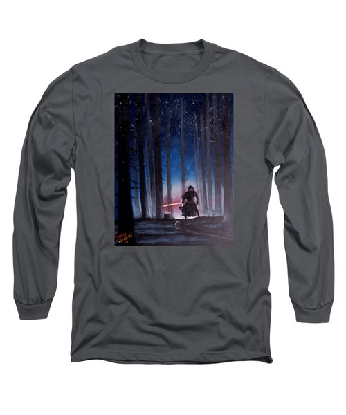 Long Sleeve T-Shirt featuring the painting Dark Jedi by Dan Wagner