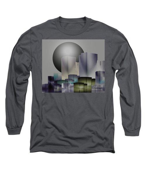 Long Sleeve T-Shirt featuring the digital art Dark Moon Over The City by John Krakora