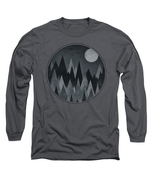 Dark Mystery Abstract Geometric Triangle Peak Woods Black And White Long Sleeve T-Shirt