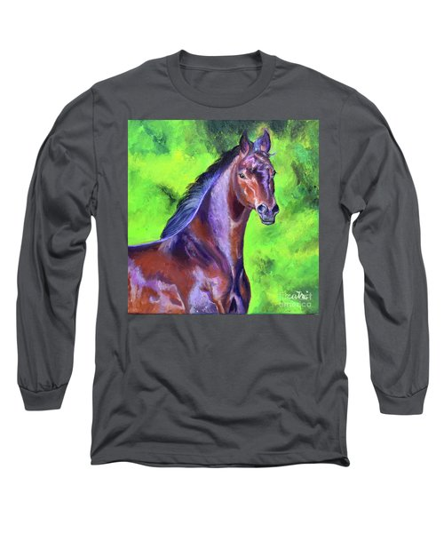 Dark Red Bay Horse Long Sleeve T-Shirt