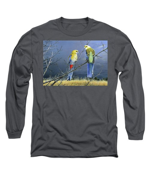 Darkness Before The Deluge - Pale-headed Rosellas Long Sleeve T-Shirt