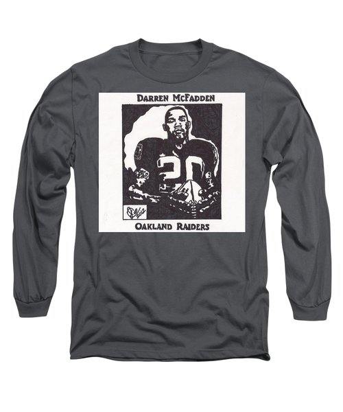 Long Sleeve T-Shirt featuring the drawing Darren Mcfadden 2 by Jeremiah Colley