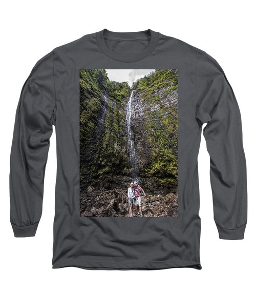 Dave And Elaine At Waimoku Falls Long Sleeve T-Shirt