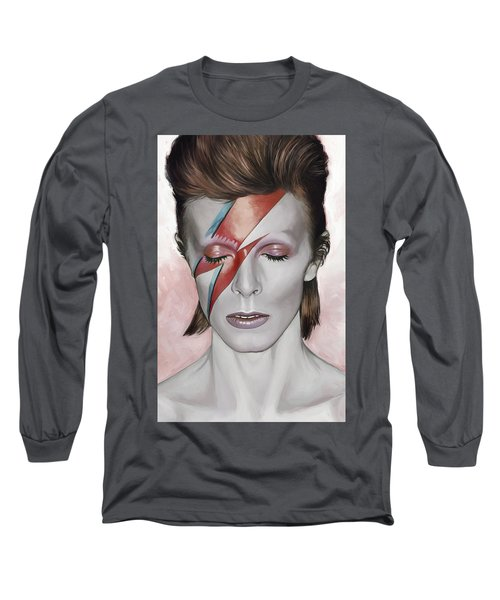 Long Sleeve T-Shirt featuring the painting David Bowie Artwork 1 by Sheraz A