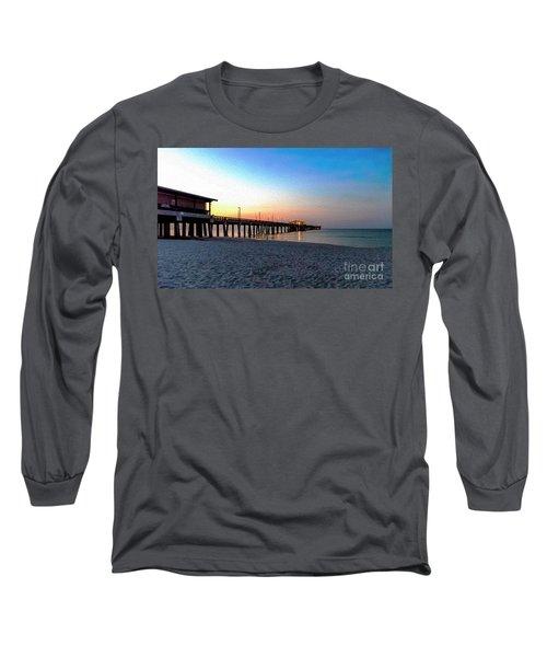 Dawn At Gulf Shores Pier Al Seascape 1283a Digital Painting Long Sleeve T-Shirt