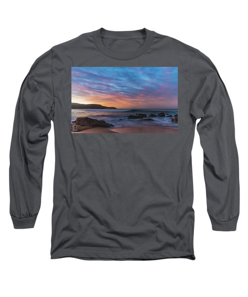Dawn Seascape With Rocks And Clouds Long Sleeve T-Shirt